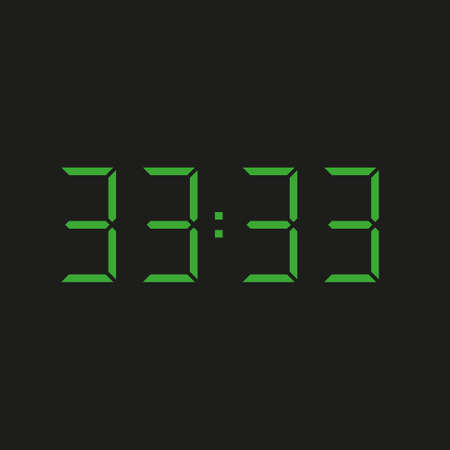 black background of electronic clock with four green numbers and datum 33:33 - repeating thirty three