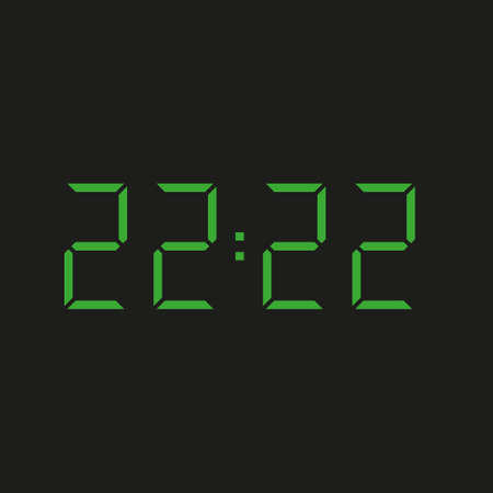 black background of electronic clock with four green numbers and time 22:22 - repeating twenty two Stock Illustratie