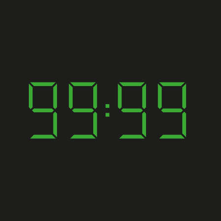 black background of electronic clock with four green numbers and datum 99:99 - repeating ninety nine