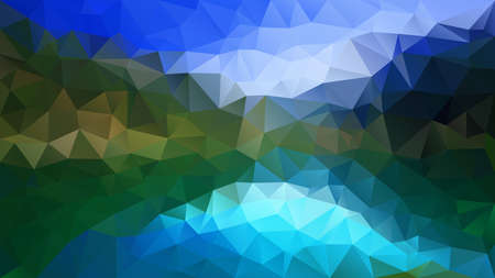 vector abstract irregular polygon background - triangle low poly pattern - color sky blue and forest green - horizontal landscape view
