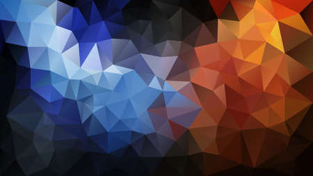 vector abstract irregular polygon background - triangle low poly pattern - color black blue orange 일러스트
