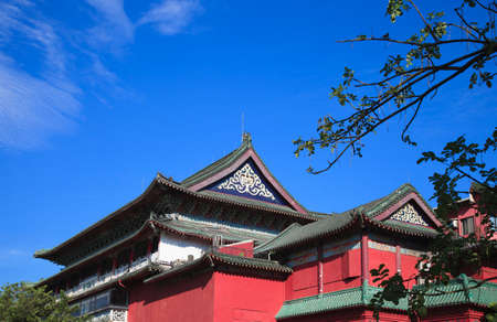 housetop: The Chinese curture building with red wall and triangle housetop  Stock Photo