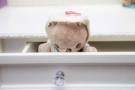 angry teddy: Dream cute teddy bear on the Dressing table
