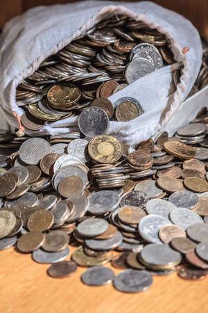 mucho dinero: Montón de dinero en bolsa.