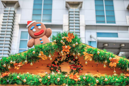 housetop: gingerbread man on the housetop. Stock Photo