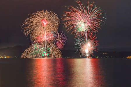 exploding: Fireworks on lake toya night.