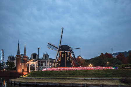 NAGASAKI - NOV 17,2017 : Huis Ten Bosch is a theme park in Nagasaki, Japan, which recreates the Netherlands by displaying real size copies of old Dutch buildings.