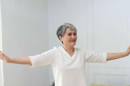 Elderly retired at home, enjoy life,Do aerobic exercise. Stockfoto