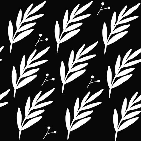 Seamless floral leaf pattern. Stylish repeating texture. Repeating texture with leaves. Black and White. Çizim