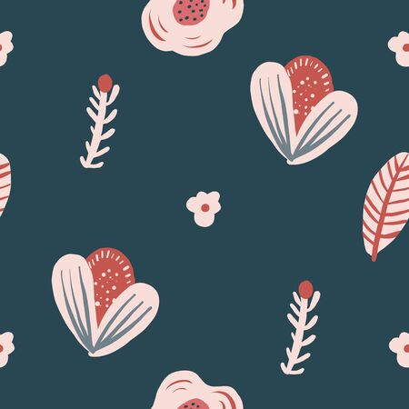 Repeat flower Pattern. Navy Blue background.Pink simple Flowers. Seamless floral pattern. Stylish repeating texture. Repeating texture. Çizim