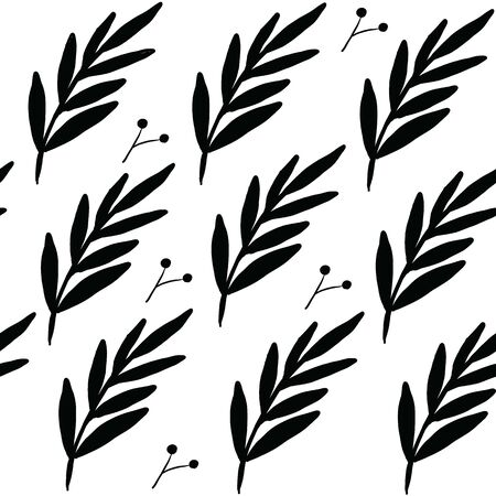 Seamless floral pattern. Stylish repeating texture. Repeating texture with leaves. Black and White.