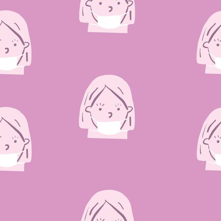 purple monochromatic mask seamless repeat pattern vector of girl with face mask