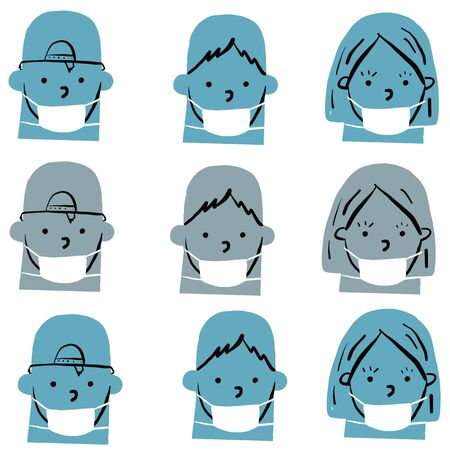 blue monochromatic mask seamless repeat pattern vector of girl with face mask