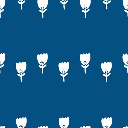 Cute Repeat Tulip Wildflower Pattern with color of the year classic blue background. Seamless floral pattern. white tulip. Stylish repeating texture. 向量圖像