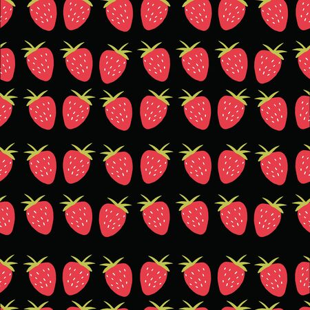 Seamless strawberry pattern. Trendy vector red strawberry pattern texture with black background.
