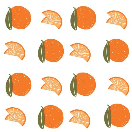 Seamless orange produce pattern. Repeat vector pattern.