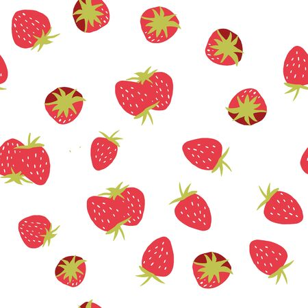 Seamless strawberry pattern. Trendy vector red strawberry pattern texture. Çizim