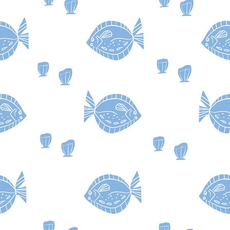 Seamless Blue Flounder Fish Pattern with sea shells. Stylish repeat pattern with fish.