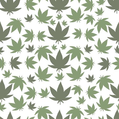 Green Marijuana cannabis Plant Seamless Vector Repeat Pattern