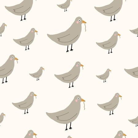 bird Seamless repeat hand drawn doodle childish pattern. Brown, beige, and tan.