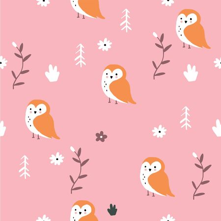 Cute pink fox forest floral pattern.