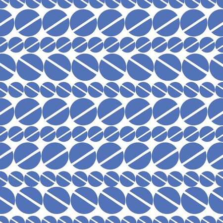 Blue dot with line through middle Pattern with color of the year classic blue background. Seamless repeat pattern. Stylish repeating texture.