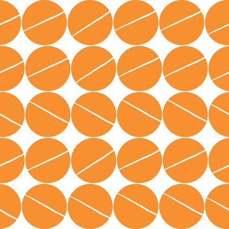 Large orange dot with line through middle Pattern on a white background. Seamless repeat pattern. Stylish repeating texture.