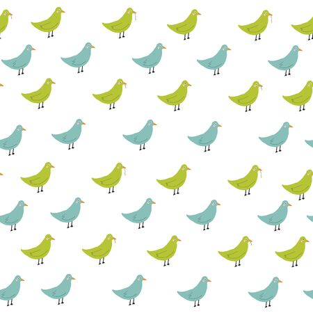 blue and green bird Seamless repeat hand drawn doodle childish pattern.