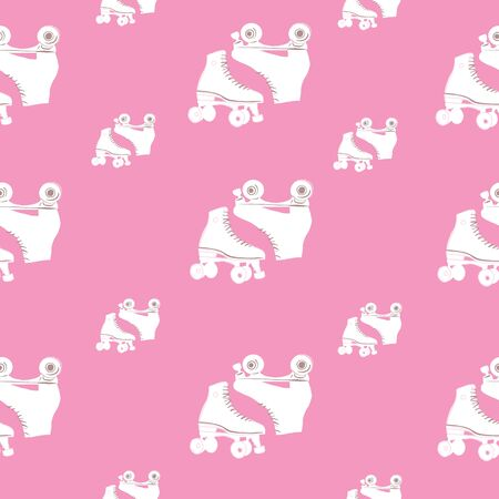 Pink Retro Vintage Roller Skate Seamless repeat pattern with gold background. Stylish vector repeating pattern. 向量圖像