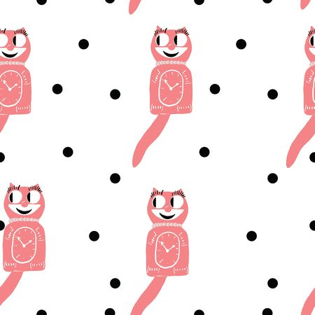 50s cat clock vintage pink polka dot phone seamless repeat pattern 向量圖像