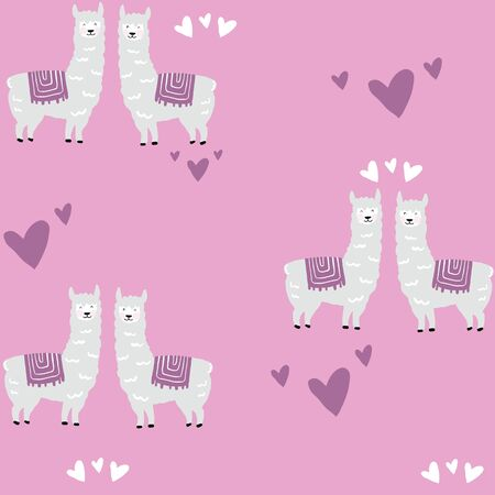 Seamless pattern with cute llama and pink cacti. Vector hand drawn illustration. 向量圖像