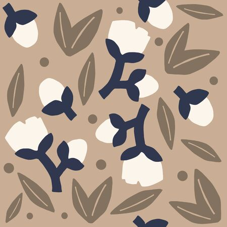 neutral colored floral pattern. Brown bold flowers or cotton neutral seamless repeat pattern. Bold, modern simple seamless repeat pattern. 向量圖像