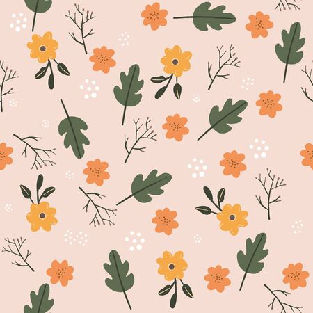 Pretty Seamless pastel pink flower floral leaf pattern. Stylish repeating texture. stylish Fall colors. 版權商用圖片 - 148093446