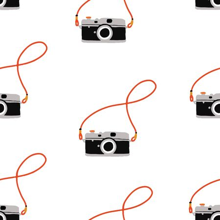Seamless hand drawn vintage camera on white background. Seamless repeat vector pattern