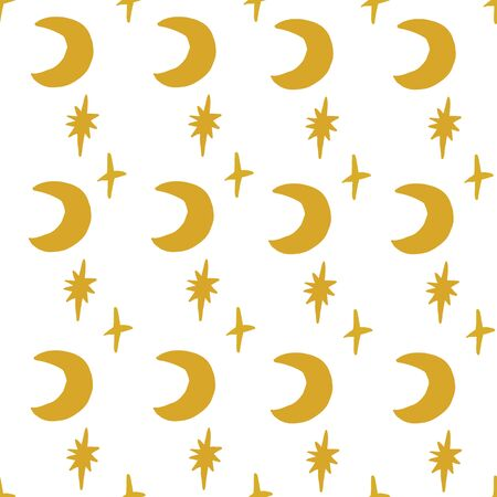 Seamless vector retro hand drawn gold star and moon pattern. Yellow. 版權商用圖片 - 148093453