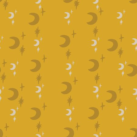 Seamless vector retro hand drawn gold star and moon pattern. Gold gray and white.