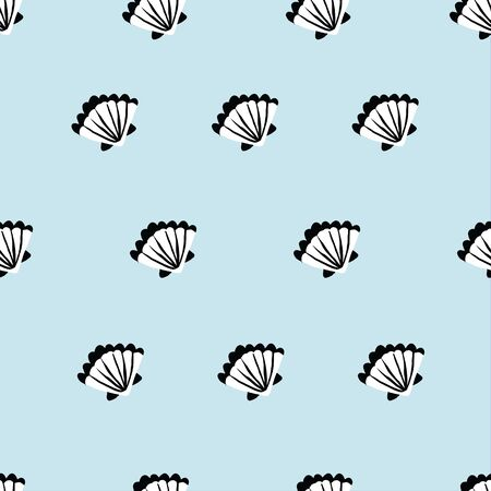 seamless light blue sea shell pattern. repeating vector pattern. 向量圖像