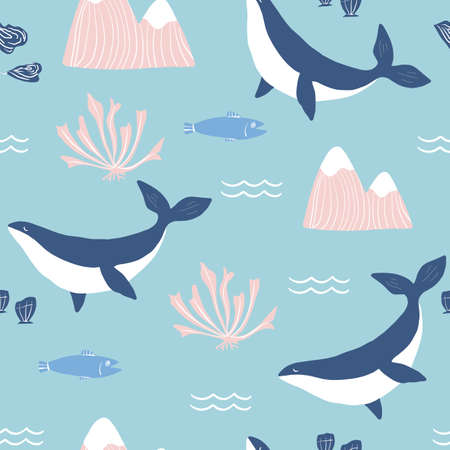 Simple whale Orcas, pink mountains and sea shells blue background seamless pattern. Illusztráció