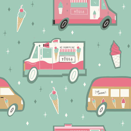 Seamless repeat vector Pink and Green Gold Ice Cream Truck and ice cream cones pattern 版權商用圖片 - 150623896