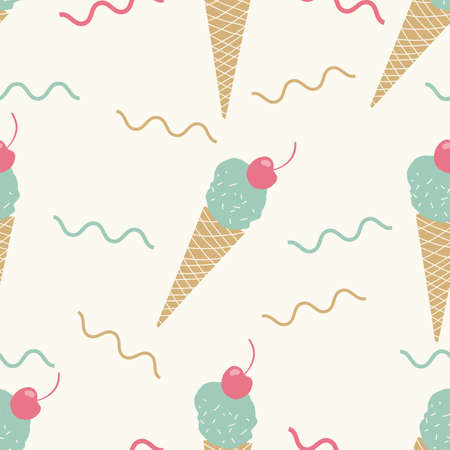 Stylish Cream Tan Seamless pink and green Ice cream cone pattern. Fun summer seamless  pattern for kids or teens. 向量圖像
