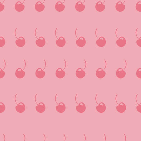 Pink and Red Simple seamless repeat  cherry pattern. 向量圖像