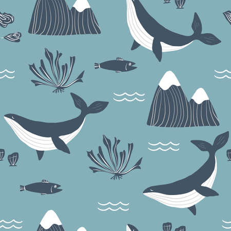 Simple whale Orcas, monochrome mountains and sea shells blue background seamless pattern.