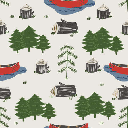Seamless   Pattern of Day by the lake with Canoe, Logs, and Trees Adventure Elements with a beige background.
