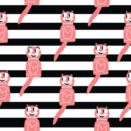 50s cat clock vintage pink and black seamless repeat pattern with stripes. Illusztráció