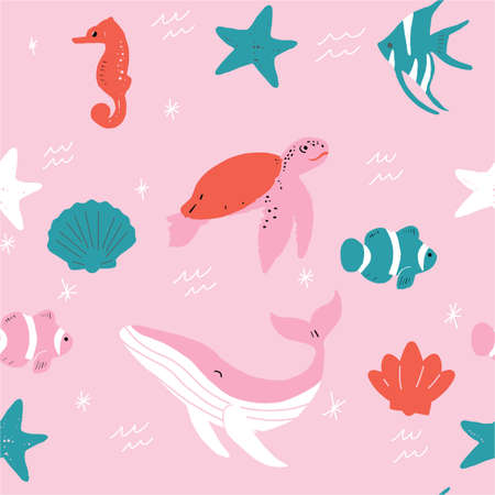 Seamless vector repeat pink red and green ocean animals pattern. This pattern has starfish, turtles, whales, clownfish, whales, and a turtle.