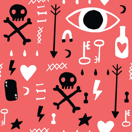 Red Black and White grunge doodle Seamless repeat pattern. Eye bottle key skull and crossbones. 向量圖像