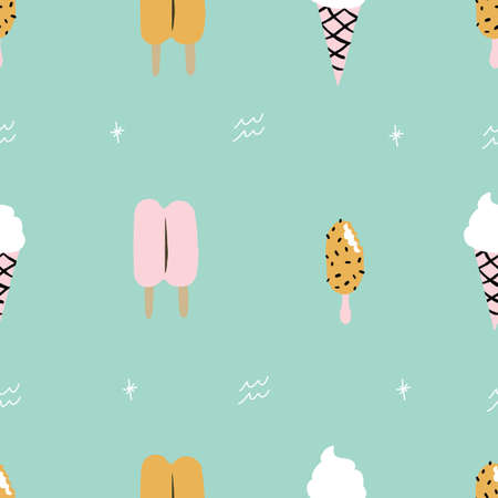 Seamless aqua blue teal colorful Ice cream cone pattern and with retro stars. Fun summer pattern. 版權商用圖片 - 151209679