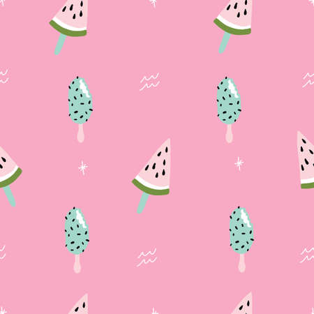 Seamless pink and teal watermelon pattern with retro hipster stars. Fun summer pattern. 版權商用圖片 - 151209700