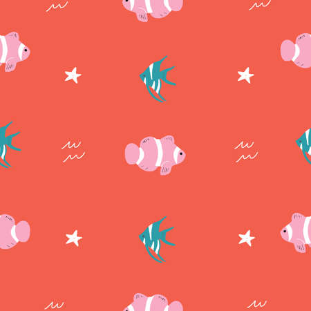 Seamless vector repeat pink red and green ocean animals pattern. This pattern has starfish, cardinalfish and clownfish with a red background 版權商用圖片 - 151209701