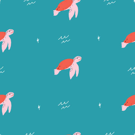 trendy Seamless vector repeat pink red and green sea turtles animals pattern with retro stars on a green background. 版權商用圖片 - 151209703
